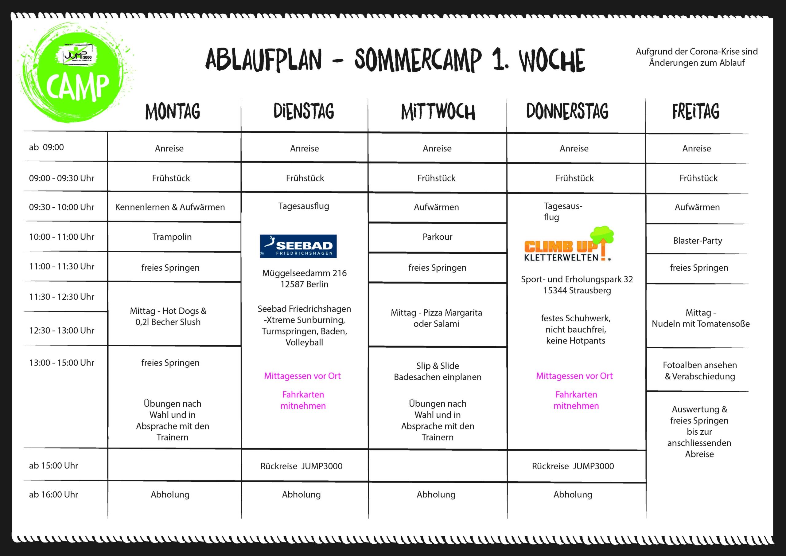 JUMP3000 Sommercamp 1. Woche