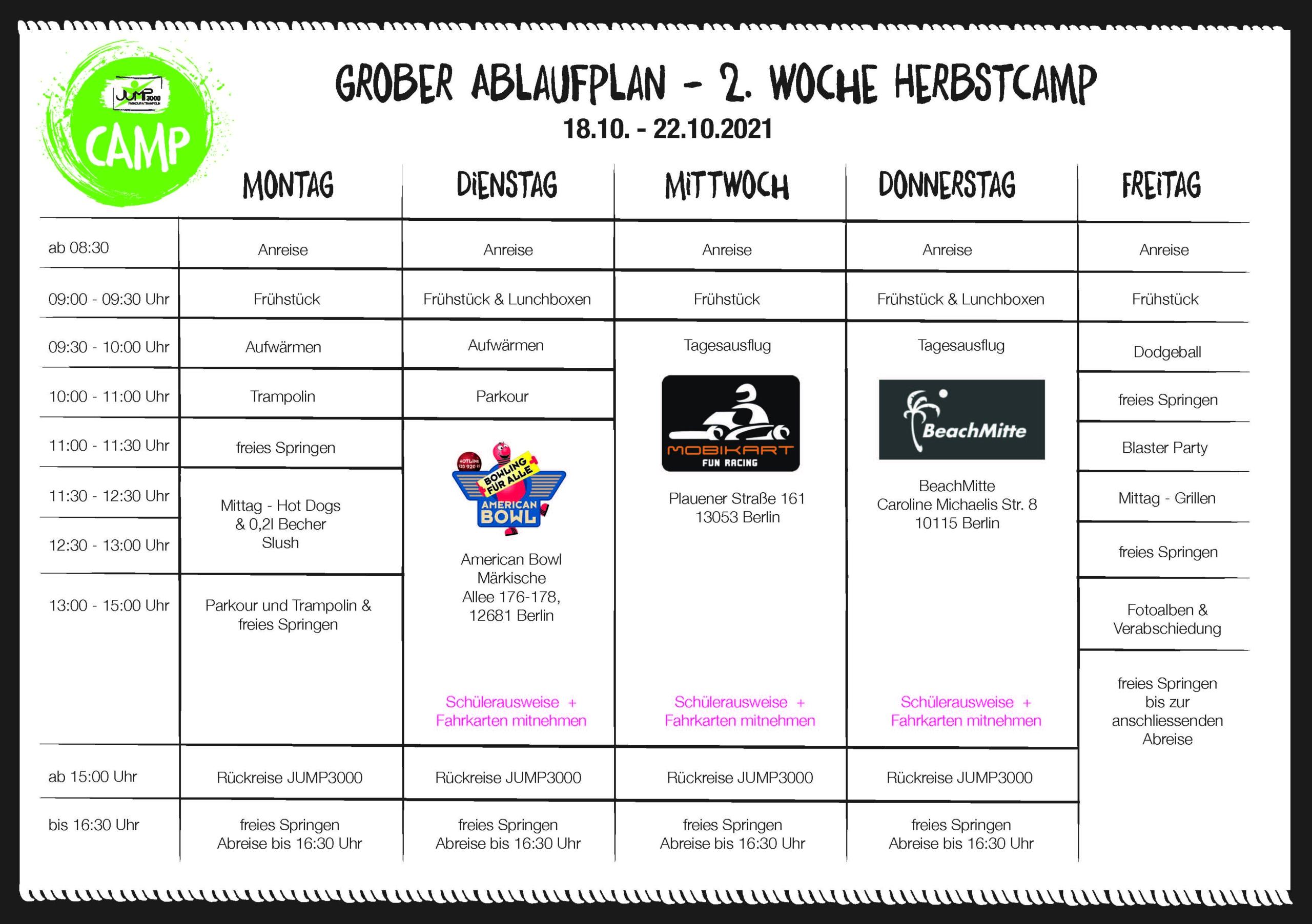 2. Woche Herbstcamp Ablaufplan